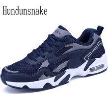 Hundunsnake Men's Sneakers Blue Mesh Breathable Cushioning Male Shoes Adult