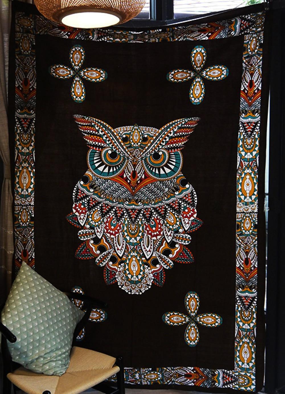 Enipate Indian Bohemia Mandala Tapestry Totem Owl Wall Tapestry Beach Towel Yoga Pad Blanket Camping Mattress Pad 200x150cm