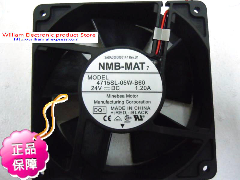 New Original NMB 4715SL-05W-B60 DC24V 1.2A 12038 Inverter waterproof cooling fan original delta afc1212de 12038 12cm 120mm dc 12v 1 6a pwm ball fan thermostat inverter server cooling fan
