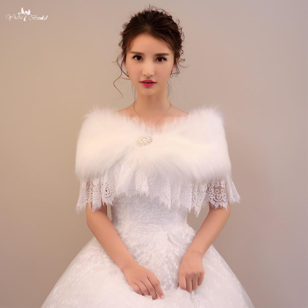LZP190 Beautiful Off Shoulder Wedding Shawls White Fur Bolero And Lace Winter Wedding Cloak