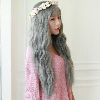 Allaosify Longue Cheveux Ondulés Perruques pour les Femmes Synthétique Gris Perruques Pour Les Femmes Blanches Résistant À La Chaleur Faux Coiffures Femmes Cheveux Pièces