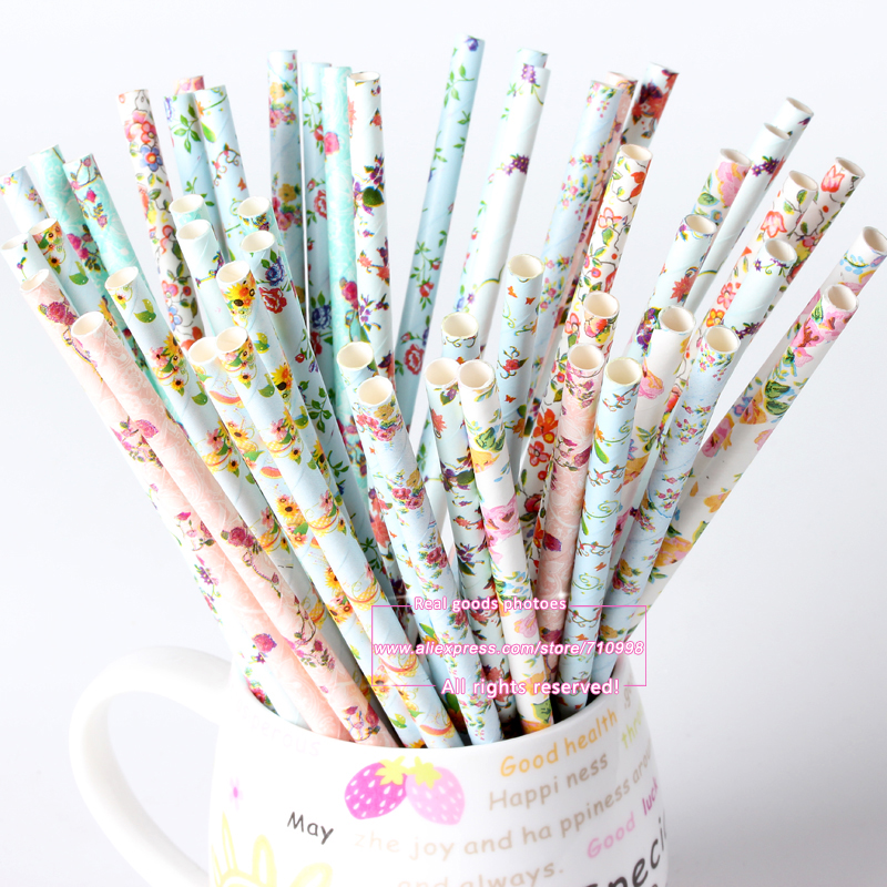 25pcs lot Vintage Retro Floral Paper Straws Biodegradable Drinking Paper Straws for Christmas Decoration Wedding Events - Cowboy Wedding Decoration Ideas