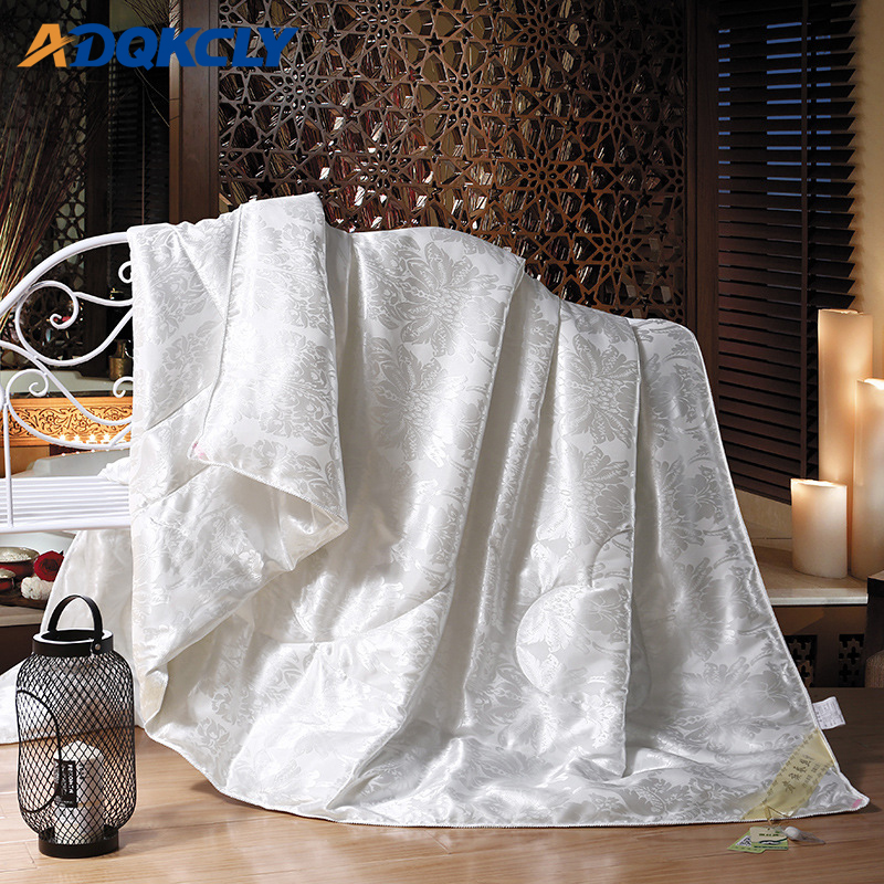 ADQKCLY Tribute Silk Fabric Silk Quilt 100 Mulberry Silk Comforter Handwork Four Seasons Warm Bedding Blanket
