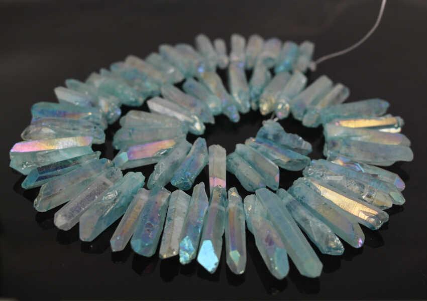 "15/"" Raw Aura Colorful Coated Crystal Quartz Rough Sticks Point Bead Strand"