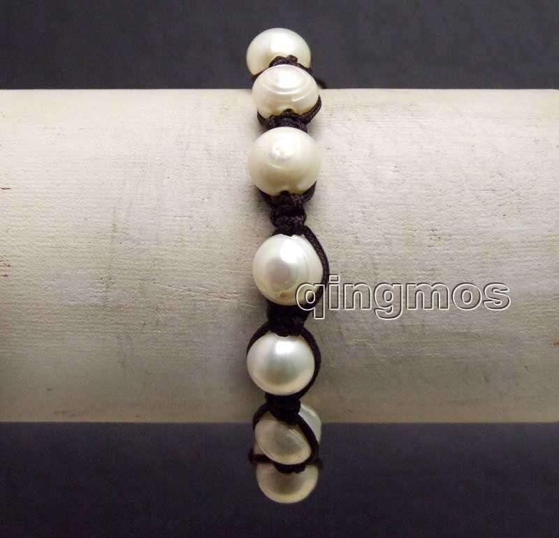 Big 9-10mm White Round Natural Pearl & China Silk handwork weave adjustable 7-10 Bracelet-bra376 Wholesale/retail