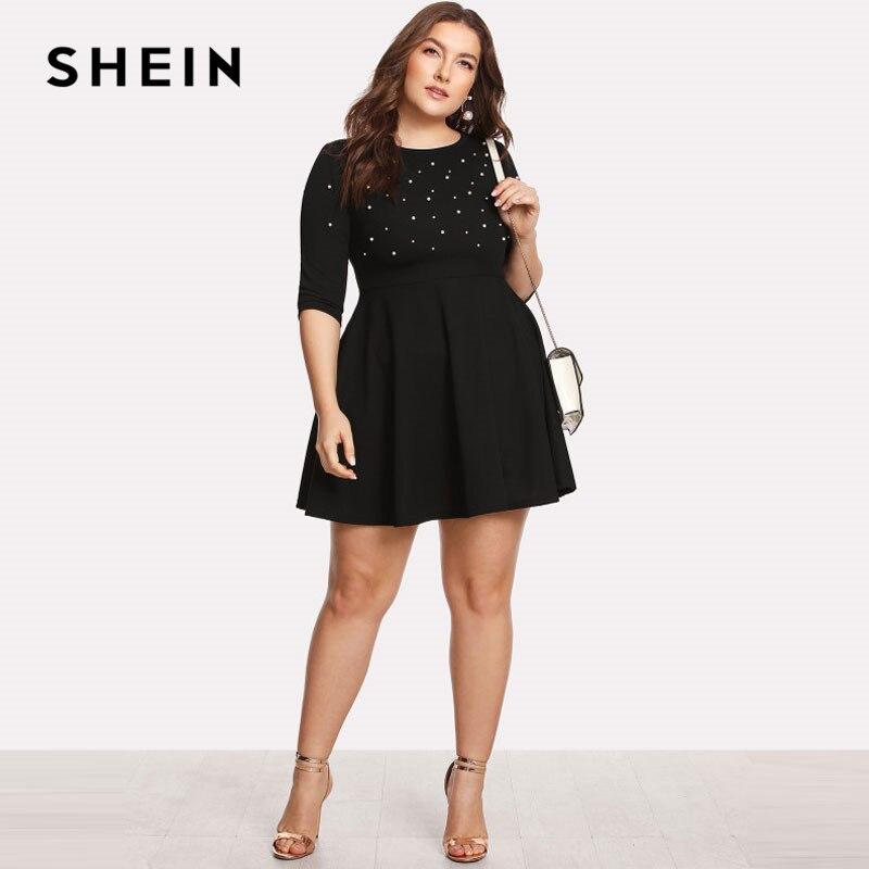 SHEIN Black Round Neck Spring Dress Plus Size Women Pearl Beading Fit Flare Large Sizes Casual Long Sleeve Elegant Dress 2