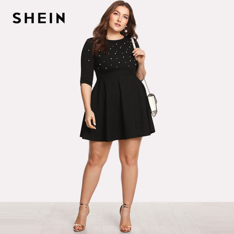 SHEIN Black Round Neck Spring Dress Plus Size Women Pearl Beading Fit Flare Large Sizes Casual Long Sleeve Elegant Dress SHEIN Women Women's Clothings Women's Shein Collection cb5feb1b7314637725a2e7: black
