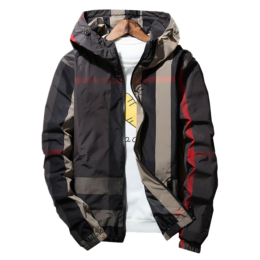 Mens Hooded Jackets Slim Comfortable Stripe Jacket Men Polyester Fabric Male Coats Size S-3XLFashion Casual Man Tops
