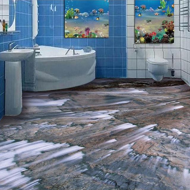 Custom photo wallpaper living room kitchen bathroom floor for Bathroom floor mural sky