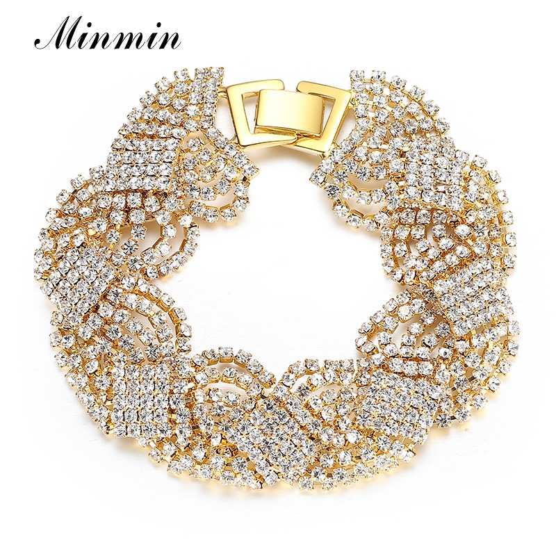 Minmin Gold/Silver Color Bracelets for Women Crystal Rhinestone Tennis Chain Link Bracelets Bangles Wedding Bridal Jewelry SL076