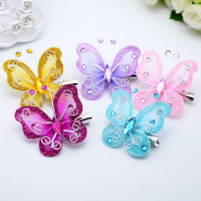 10pcs/lot Mix Colors Beautiful Gauze Butterfly Hair Clips Headwear for Kids Children Girls DIY Decorative Accessories