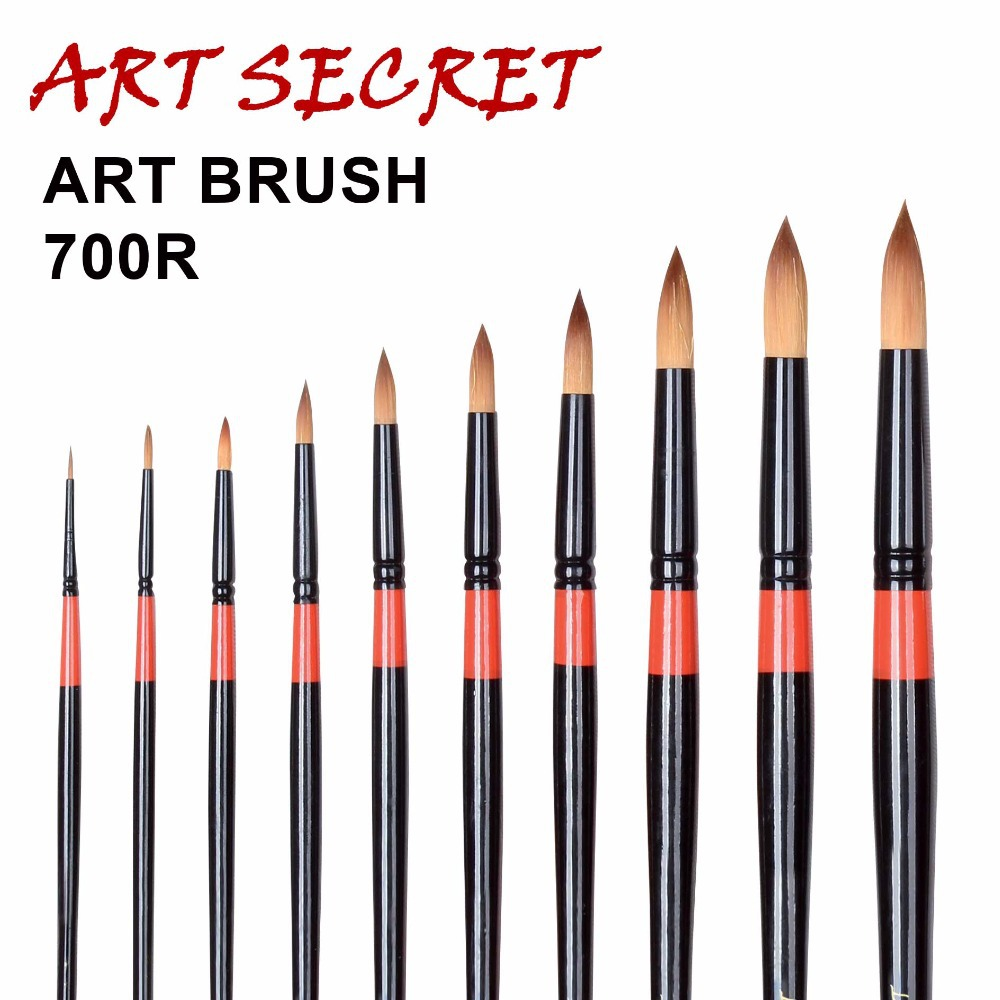 High Quality Paint Brushes Acrylic Watercolor Art Brush 700R Taklon Hair Long Wooden Handle
