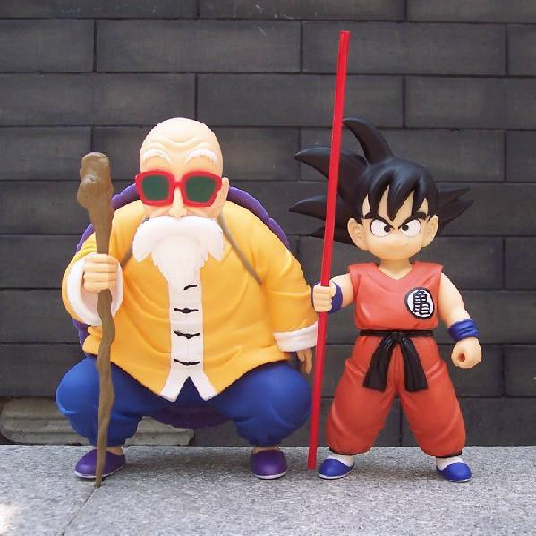Japanese Anime Dragon Ball Z DBZ Goku VS Master Roshi PVC Action Figures Cartoon Toys 2pcs/Set Free Shipping free shipping anime dragon ball master roshi pvc action figure collection model toy 25cm orange new loose