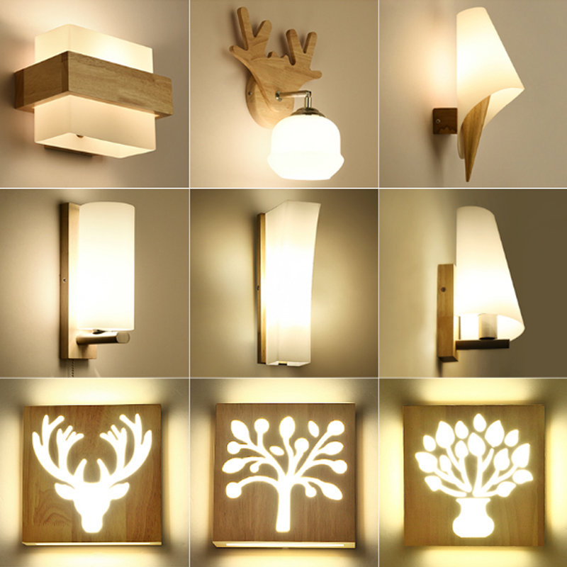 LED solid wood wall lamp bedroom wall light creative living room staircase wall sconce wall lamps indoor modern light fixtures Тостер