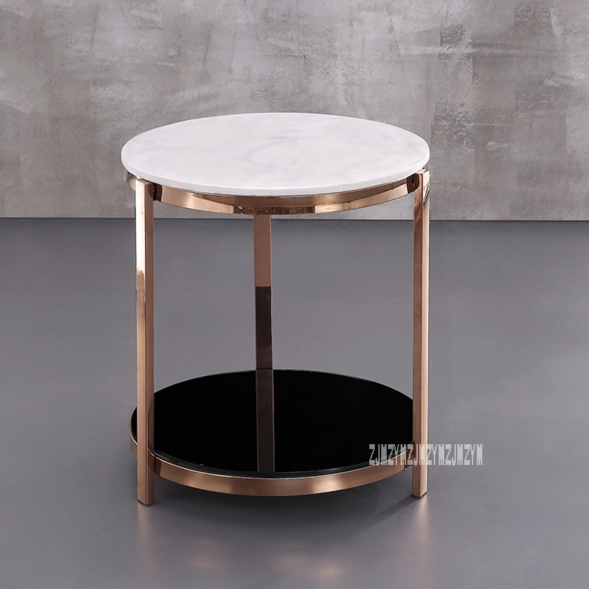 Modern Luxury Marble Top Tea Table Simple Living Room Bedroom Corner Sofa Side Small Round Coffee Table Stainless Steel Rack simple modern toughened glass small round bar table living room home leisure fashion high round table