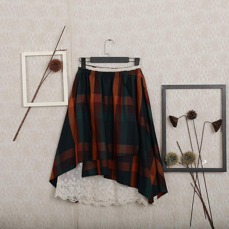 Japonais Mori fille Hippie Boho bohème Vintage rétro dentelle à volants coton lin Plaid deux façons porter taille élastique femmes jupe