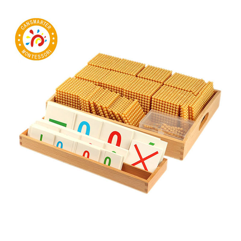 Materiales Montessori niños juguetes de madera juguetes de matemáticas cuentas de plástico práctica de número completo cuentas doradas juguetes MA164