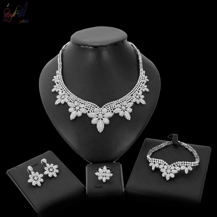 YULAILI Top Quality Bridal Gift Nigerian Wedding African Woman Fashion Silver Color Jewelry Set for Ladies yulaili new coming pure yellow flower bridal wedding jewelry set nigerian ladies party wedding accessories