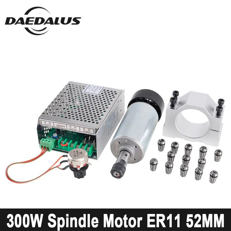 300W CNC Spindle Motor DC ER11 Air Cooled Spindle Motor+ Power Supply + 52mm Clamp + 13pcs Collet For Engraving Milling Machine