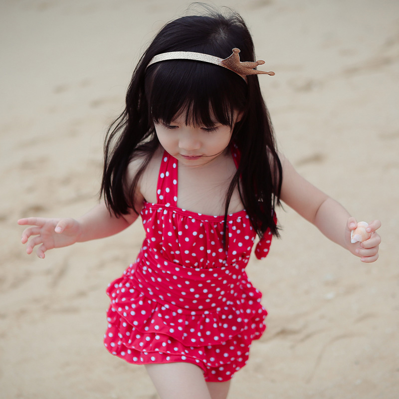 ФОТО NIUMO New one-piece bathing suit Children's suit Wave point The baby princess Hot springs swimming Taking pictures