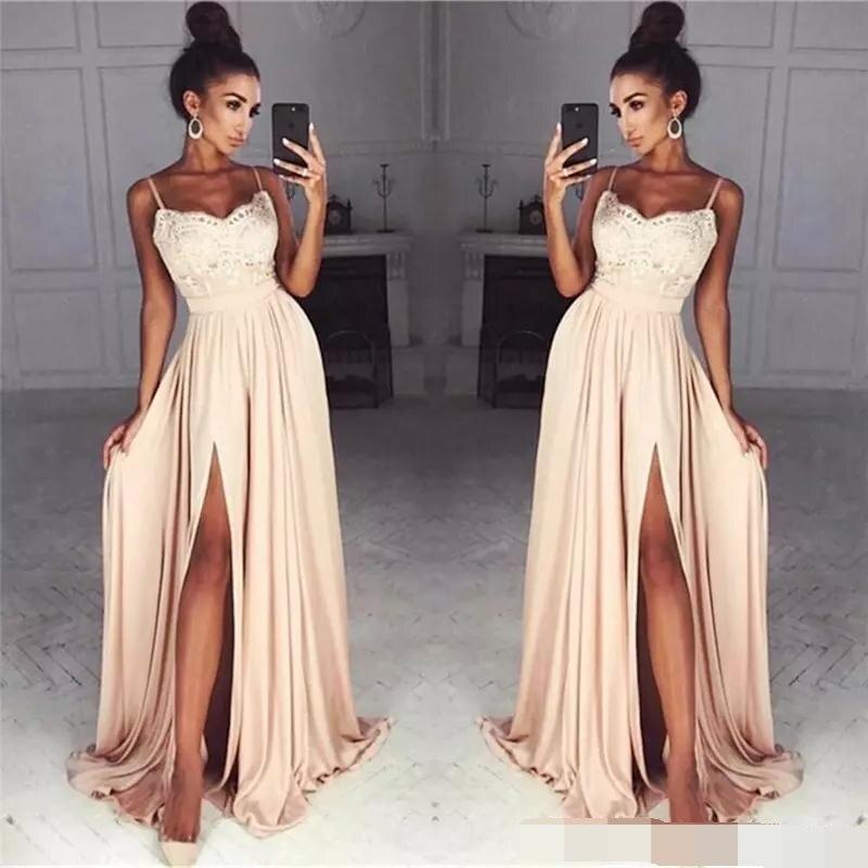 Cheap Long Spaghetti Straps Lace Evening Dresses Side Split Sexy Custom simple prom dresses evening dress 2019