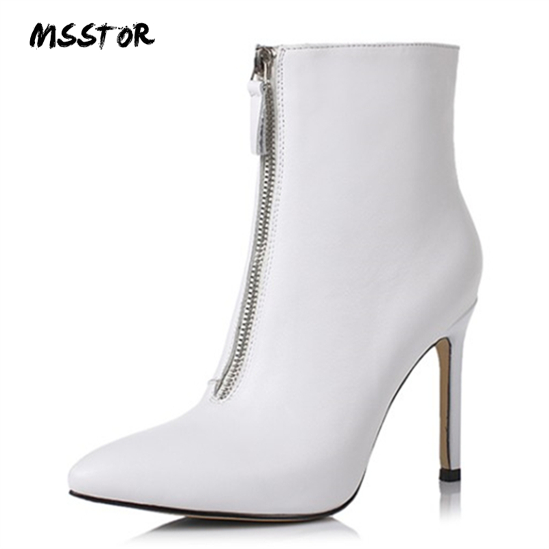 MSSTOR Pointed Toe Stiletto Sexy Boots High Heels Pumps Autumn Winter Fashion 2018 White Boots Party