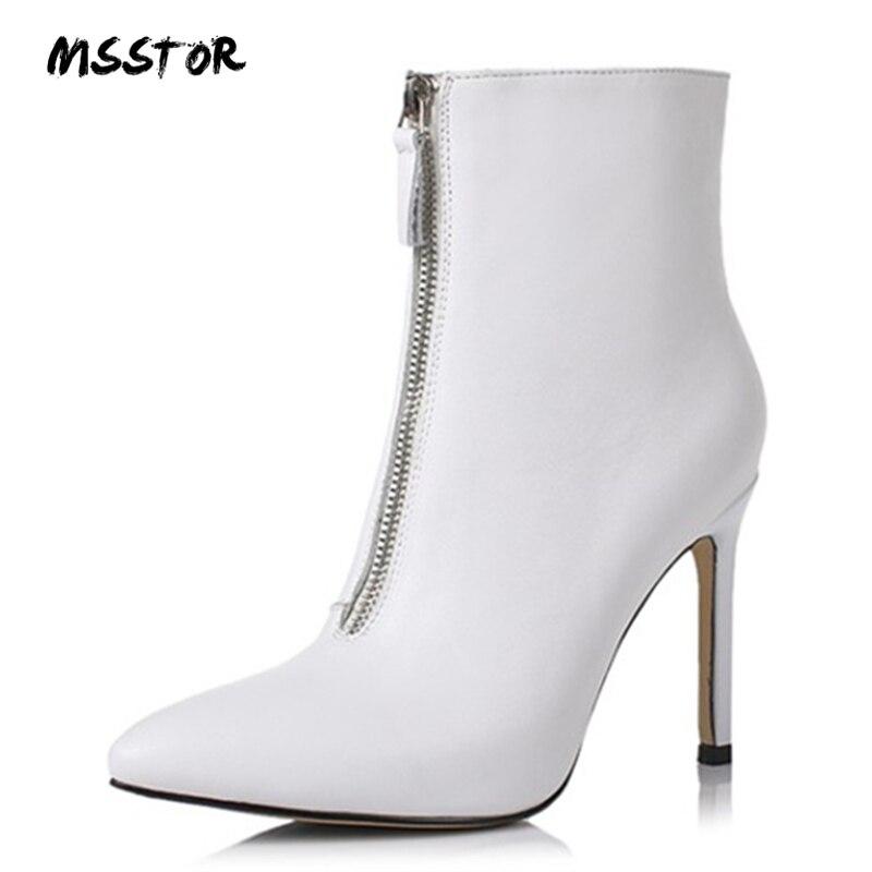 MSSTOR Pointed Toe Stiletto รองเท้าเซ็กซี่รองเท้าส้นสูงปั๊มฤดูใบไม้ร่วงฤดูหนาวแฟชั่น 2018 สีขาวรองเท้าข้อเท้ารองเท้าหนังผู้หญิง-ใน รองเท้าบูทหุ้มข้อ จาก รองเท้า บน AliExpress - 11.11_สิบเอ็ด สิบเอ็ดวันคนโสด 1