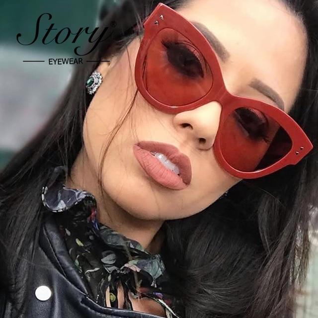 c62d16b828 STORY Red Oversized Sunglasses Women Retro Cat Eye Sun Glasses Red Rivet  2018 Summer Shades For