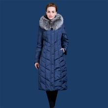 Купить с кэшбэком Female long design over-the-knee plus size plus size thickening down coat fox large fur collar winter VLD-Q702