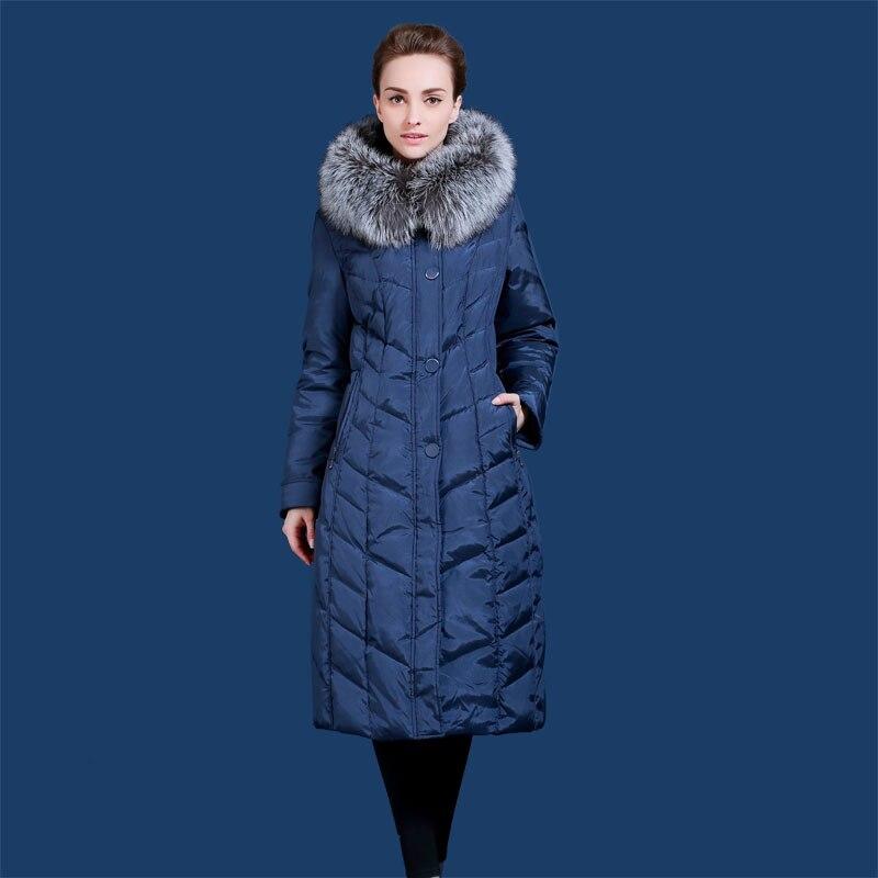 Russo e Europeo di Inverno delle donne giù giacca Allunga l' ispessimento a meno 40 gradi caldo Argento pelliccia di Volpe collare 48 -58 Q702