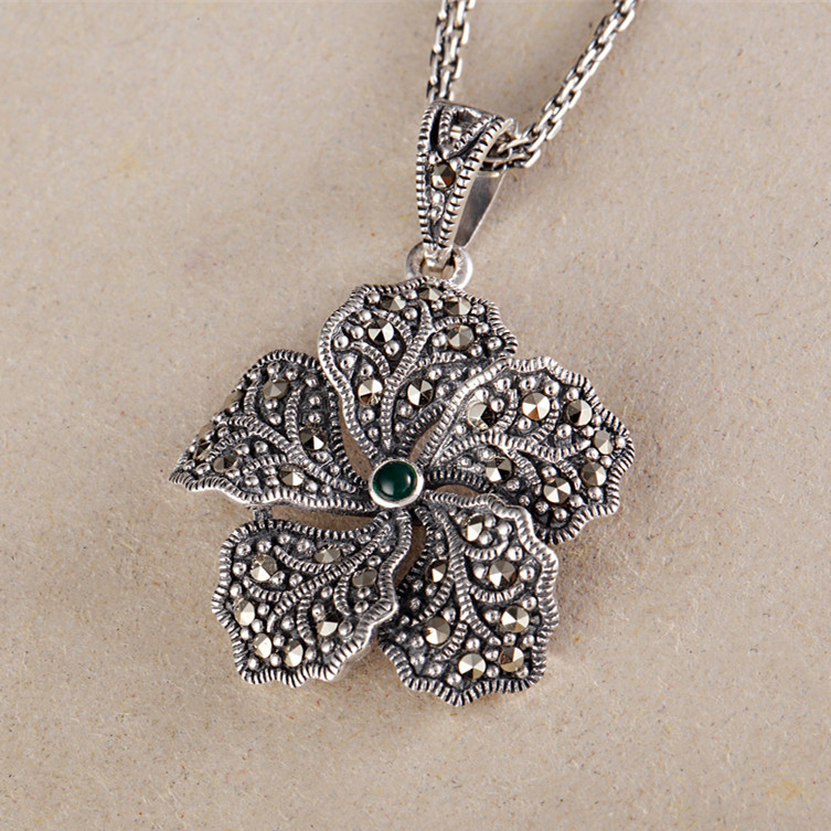 The new 925 Sterling Silver Marcasite Silver Flower Natural stone pendant on behalf of a clavicle электрический накопительный водонагреватель ariston abs andris lux 10 ur page 5