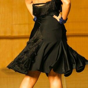 Image 5 - สีดำชุดเต้นรำละตินผู้หญิงคุณภาพสูง Fringe Salsa Samba Rumba เต้นรำสวมใส่แขนกุด Ballroom Dancer เสื้อผ้า DC1049
