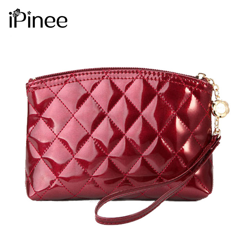 iPinee Hot Selling New 2017 fashion lady's makeup bag women's patent leather cosmetic bag plaid purse day clutch Free shipping yuanyu 2018 new hot free shipping real python leather women clutch women hand caught bag women bag long snake women day clutches