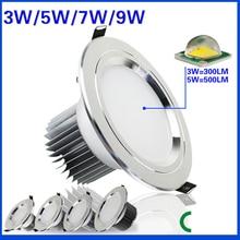 3ワット5ワット7ワット9ワット防曇ledダウンライトac85 265v ledシーリングランプ凹型スポットライトダウンライト、家庭用照明