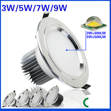 3w 5w 7w 9w Anti Fog led downlight AC85 265V LED ceiling lamps Recessed Spot light Down Lights for home illumination