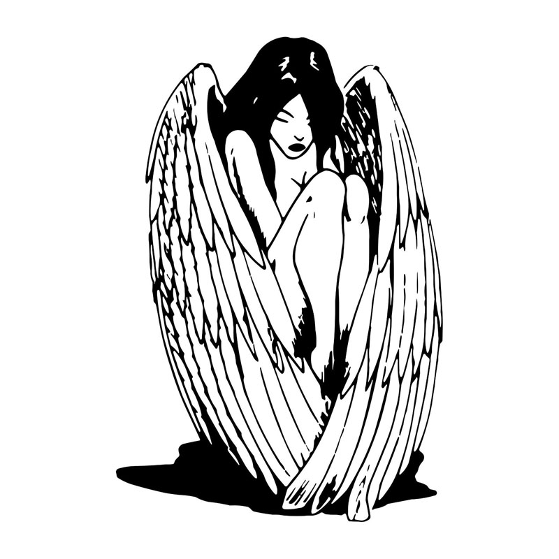 US $1 4 45% OFF|13 6*20 3CM Sexy Angel Wings Girl Car Stickers Stylish  Motorcycle Vinyl Decals Black/Silver C7 1363-in Car Stickers from  Automobiles &