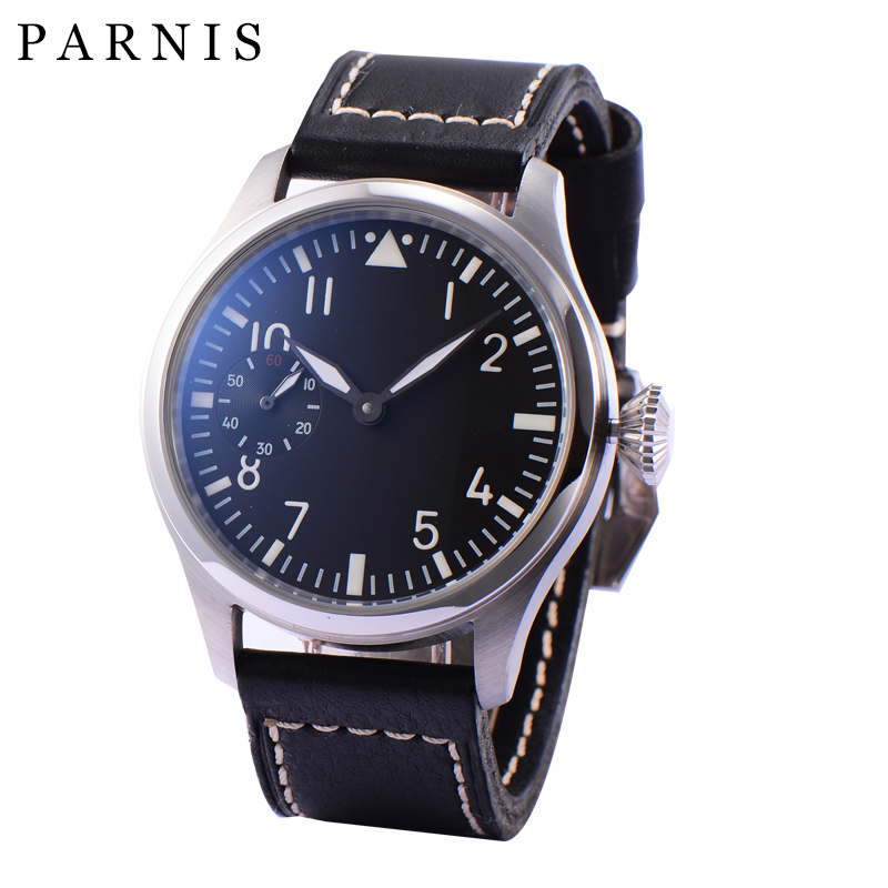 Fashion Hand-Wind Mechanical Watches Male 46mm Parnis 6498 Hand Winding Movement Black Dial White Luminous Numbers Men Watch цена и фото
