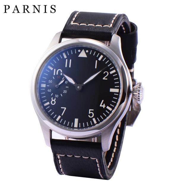 Mode main vent mécanique montres mâle 46mm Parnis 6498 main remontage mouvement noir cadran blanc chiffres lumineux hommes montre