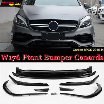 W176 Paraurti Anteriore Lip Canard In Fibra di Carbonio 8 pezzi/set A45AMG Stile per Mercedes Benz A-class A180 A200 A250 lip Canard 2016 +