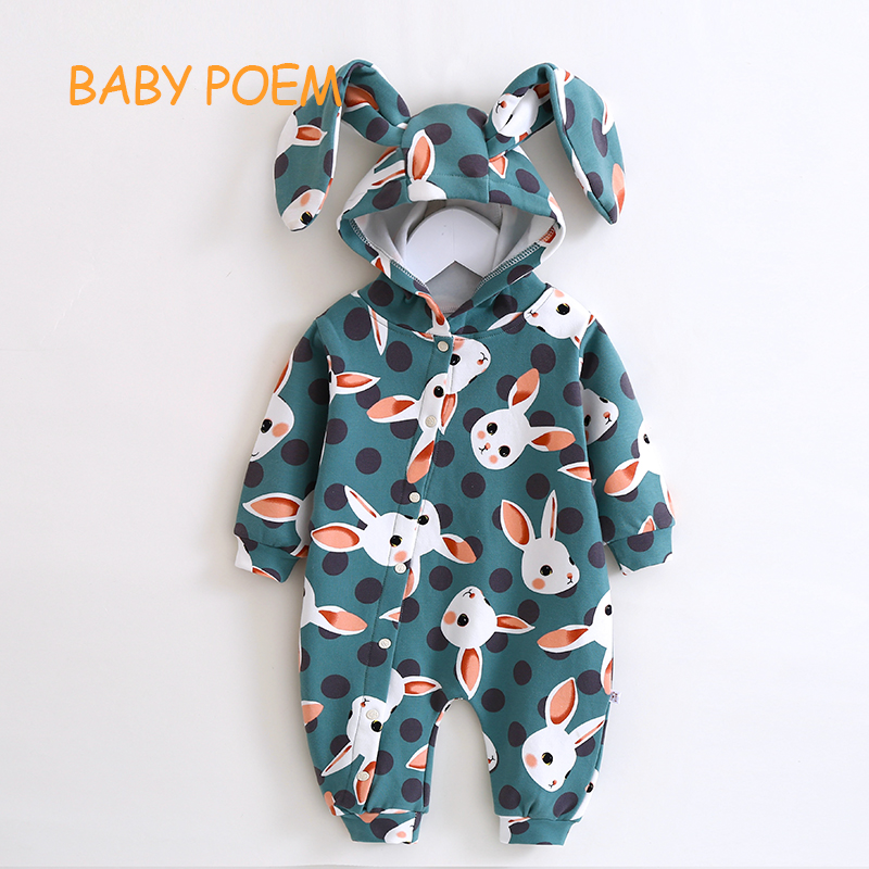 931ec823798a Best buy Babypoem Cotton New pattern born baby clothes conjoined Spring  autumn Long sleeved clothing romper jumpsuit Rabbit ears Hoodie online cheap