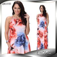 QMGOOD Sexy Dress Sleeveless Printing Boho Dress Party Dresses Women Big Size Summer Elegant Luxury Dress 5XL 6XL 7XL Robe Femme
