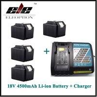 Высокое качество 4 шт. Перезаряжаемые Мощность инструмент Батарея для Makita 4500 мАч 18 В литий ионный BL1830 lxt400 194205 3 bl1840 батарея + Зарядное устройс