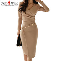 SEBOWEL Woman Asymmetric Midi Wrapped Pencil Dress for Office Lady Work Long Sleeve Dresses Button Autumn Spring Female Bodycon