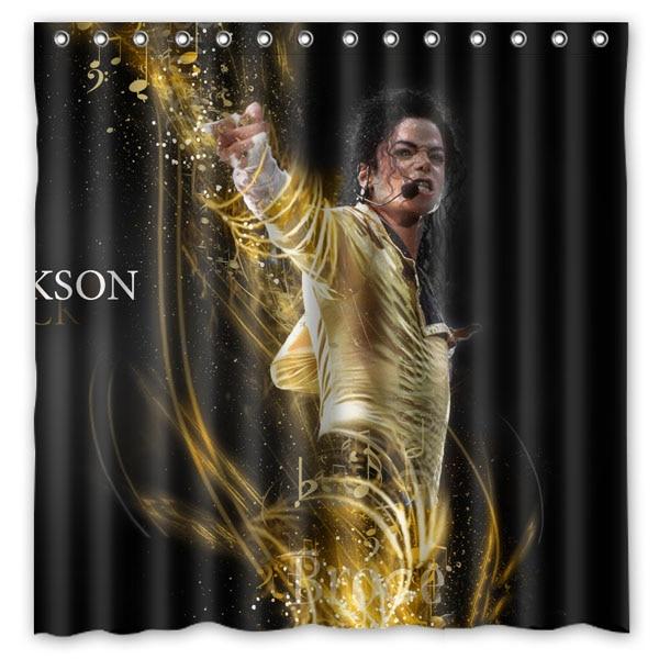 Hot michael jackson Design Shower Curtain Bathroom Waterproof Polyester Fabric 180*180cm+12 Hooks Custom Bath Curtain