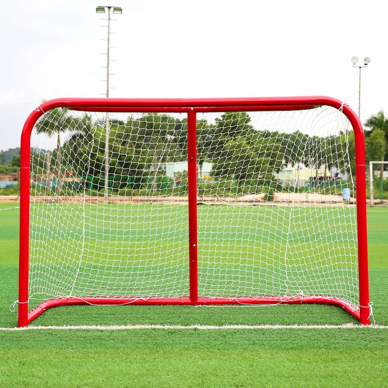 Hot! Sports Mini Hockey Goal Outdoor/Indoor Kids Sports Soccer & Ice Hockey Goals with Balls and Pump Practice Scrimmage Game hockey net travel portable lacrosse pop up lax net for backyard shooting collapsible outdoor sport training foldable hockey goal
