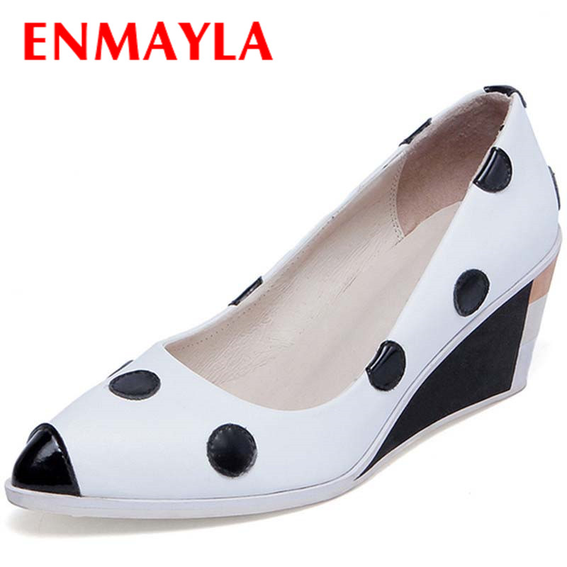 ENMAYLA New Women High Heels Pumps Shoes Woman Size 34-39 Wedges Pointed Toe Spring Summer & Autumn Party Pumps Platform Shoes plus size 34 49 new spring summer women wedges shoes pointed toe work shoes women pumps high heels ladies casual dress pumps