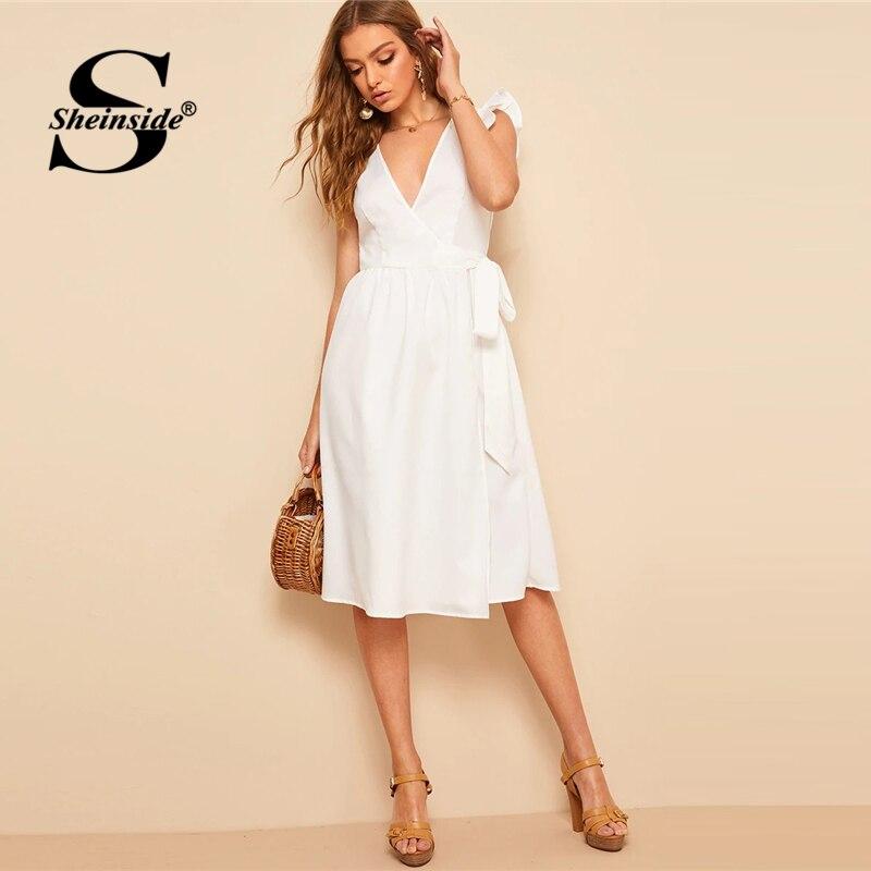Sheinside гофрированное платье с гофрированной проймой и поясом для женщин, Белое Женское платье средней длины 2019 летнее однотонное платье в ст...