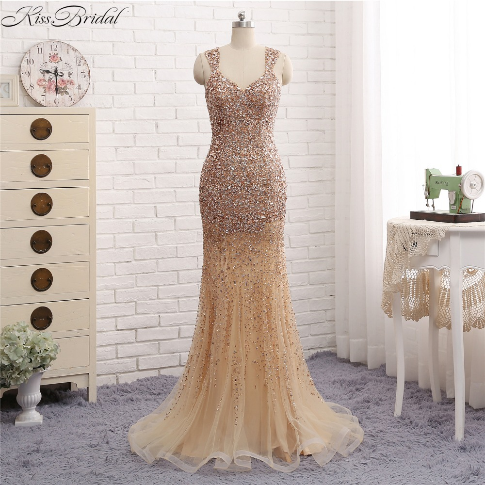 vestido sereia Newest Style Mermaid   Evening     Dresses   Long V-neck Full Beading Tulle Prom Party Gowns Sheer Back