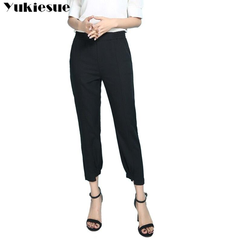 summer ankle length women's   pants     capris   with high waist harem   pants   for women trousers woman   pants   female black Plus size 6XL