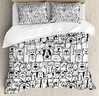 Doodle Duvet Cover Set Collection of Dogs and Cats Cute Animals Fun Happy Beings Cartoon Inspired Design 4 Piece Bedding Set